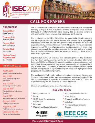 ISEC 2019 Call for Papers preview
